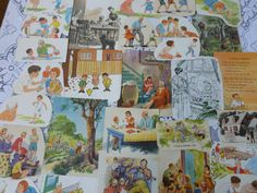 Vintage Paper Family Mom Dad Brother Sister Ephemera Illustrated Childrens Story Book Page Lot Scrap Craft Pack Inspiration Kit Smash Book on Etsy, $4.19