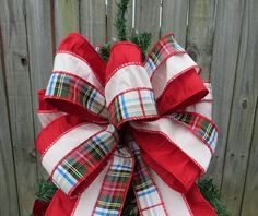 Christmas Tree Topper - Christmas Tree Decoration -  Plaid Tartain Bow - Double Sided - Cream and Red - Tree Decoraiton