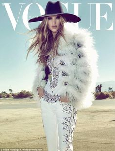 Rosie Huntington-Whiteley wears a rhinestone jumpsuit as she cover Vogue Brazil's April issue