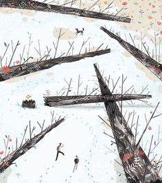 Illustration turns the landscape itself into a character. #followthosefootprints!