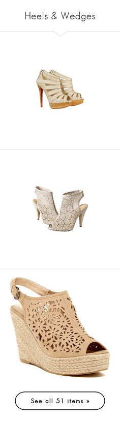 """""""Heels & Wedges"""" by sammylynn ❤ liked on Polyvore featuring shoes, heels, scarpe, zapatos, sapatos, booties, christian louboutin shoes, peep-toe shoes, high heel peep toe shoes and christian louboutin"""