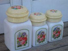 Vintage Avon Milk Glass Jar Country Garden by VintagebyKanina, $12.00