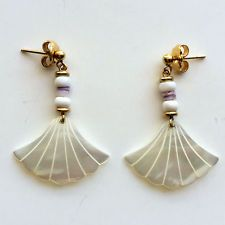 Gold plated push backs earrings with carved genuine mother of pearls Lot 28