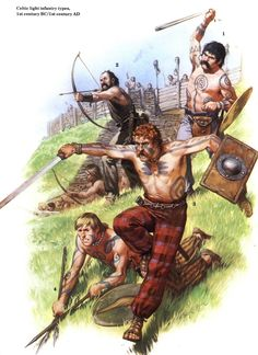 Celtic skirmishers from Britain - 1st century B.C to 1st century AD. Due to the highly stratified nature of Celtic society not all warriors could afford the broad sword and large shield. The lower classes mostly acted as skirmishers and light troops.