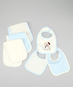 Take a look at this Blue Puppy Bib Set by Luvable Friends on #zulily today!