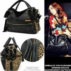B59106 reseller @150 ecer @170 MATERIAL PU+SEQUIN SIZE L37XH35XW12CM WEIGHT 750GR COLOR LEOPARD