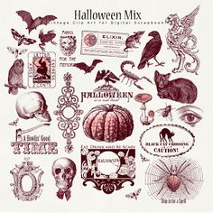 Far Far Hill - Free database of digital illustrations and papers: Freebies Vintage Old Ornament Papers Halloween Fonts, Halloween Labels, Halloween Images, Halloween Projects, Holidays Halloween, Spooky Halloween, Vintage Halloween, Happy Halloween, Halloween Decorations