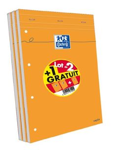 Oxford Scolaire 100107099 Lot de 3 Bloc-notes agrafé + perforé 210X315 160 Pages 80 G
