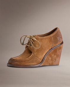 Love these suede wedges. If they were an inch or so shorter and $50-$100 less expensive they would be mine!