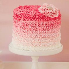 love this pink ombre cake!! We could make it ombre inside as well! ( kind of like how we made the rainbow cake!)