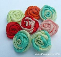 tutorial for these cute ribbon roses. All you need is ribbon,craft glue and some scissors.