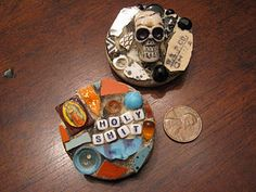 Tiny mosaic brooches, mosaic art.