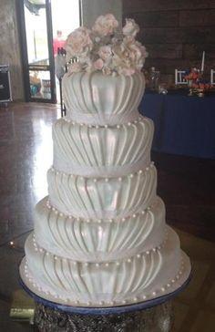 Five Tier Fondant Draped Wedding Cake