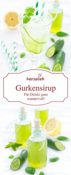 Gurken Rezepte: leckerer Gurkensirup, der den Gin aufwertet, Cocktails noch leckerer macht und mit Mineralwasser grandios ist. Einfaches Sirup Rezept von herzelieb #gincocktails