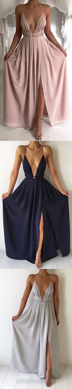 Long Ball Dresses Modest, V neck Prom Dresses Backless, Cheap Graduation Dresses for Teens, Chiffon Evening Dresses 2018