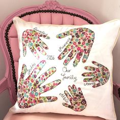 Freehand Embroidered Family Handprint Cushion