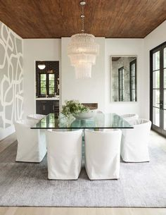 Love the wood ceiling    ...Mediterranean style home in Texas with clean-lined interior finishes