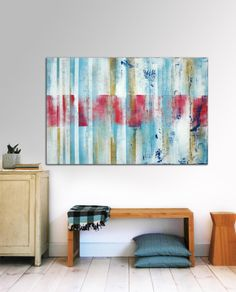 """Red White and blue in stripes - Large Abstract Painting - Acrylic painting - 31,5"""" x 47,2"""" - Free Worldwide Shipping on Etsy, $339.00"""