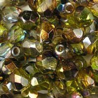 Magic Green 6mm Czech fire-polished, faceted, round glass beads. Very sparkly: part transparent crystal, part rainbow finish in shades of gold, pink and green. UK seller.