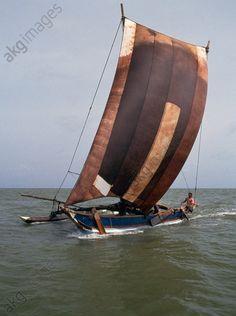 Traditional Orü for fishing, Negombo, Sri Lanka.