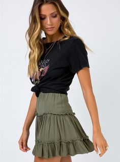 Marlowe Mini Skirt Khaki Marlowe Mini Skirt Khaki,Clothes Related posts:g e o r g i a n a - Korean fashion schoolSchool uniform Easy Halloween Costumes For College Students - Simply Allison -. Cute Summer Outfits, Spring Outfits, Trendy Outfits, Casual Summer, Modest Denim Skirts, Cute Skirts, Khaki Skirt, Khaki Dress, Mode Outfits