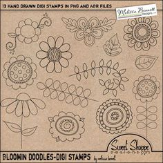 love these doodle flower brushes - Craft ~ Your ~ Home Tangle Doodle, Doodles Zentangles, Zen Doodle, Doodle Art, Doodle Designs, Doodle Patterns, Zentangle Patterns, Embroidery Patterns, Doodle Borders