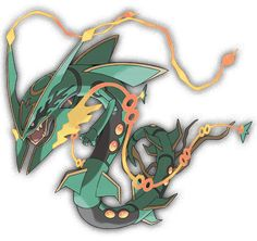 Particles stream from the long filaments that extend from its jutting jaw. These particles can control the density and humidity of the air, allowing Rayquaza to manipulate the weather. Its green hide sparkles with an emerald-like quality. Pokemon Rayquaza, Mega Rayquaza, Pokemon Dragon, Pokemon Mewtwo, Mega Pokemon, Pokemon Fan Art, Cool Pokemon, Mega Evolution Pokemon, Pokemon Movies