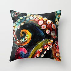 Tentaces in the Darkness Throw Pillow by lostmarketplace. Worldwide shipping available. #octopus #beachhouse #ocean