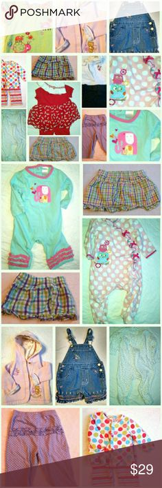 16 Pcs Sz 3-6 Mos 16 Pcs Sz 3-6 Months Includes: 5 Pants (1 Overalls) 2 One Piece Footie Outfits 3 Tops 2 Skirts 1 One Piece Outfit (not footie) 1 Hat 1 Hooded Jacket 1 Jumper Matching Sets
