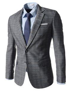 (NIFJ236-GRAY) Slim Fit Checker Notched Lapel Single Breasted 2 Button Blazer