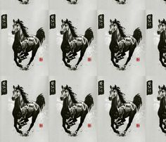 CHRIS BLACK HORSE fabric by christineberlin on Spoonflower - custom fabric