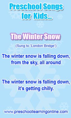 Fun winter preschool songs for kids. Many other preschool songs for children online.  www.preschoollear...