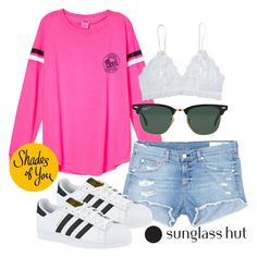 """Shades of You: Sunglass Hut Contest Entry"" by pdfharry ❤ liked on Polyvore featuring rag & bone/JEAN, Hanky Panky, adidas, Ray-Ban, Summer, Pink, chill, sunglasshut and shadesofyou"