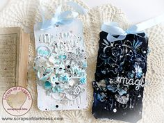 Scraps of Elegance scrapbook kits: Shabby Chic Mixed Media Tags Video Tutorial. Stéphanie Papin created these gorgeous contrasting black and white tags, accented in teal blues, with the May Scraps of Elegance kit, Belle Journée, and did a Youtube step-by-step tutorial. See how she gets amazing texture with modeling paste and Prima Finnabair brushes!