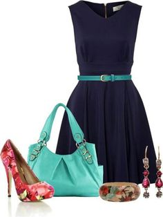Navy, Turquoise, Red Floral pumps Outfit