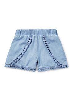 Girls Shorts | Chambray Pom Pom Short | Seed Heritage