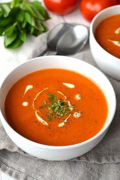 Tomato Soup | Every Last Bite Vegan Tomato Soup, Creamy Tomato Basil Soup, Cream Of Tomato Soup, Tomato Cream Sauces, Tomato Tomato, Vegan Soups, Vegan Whole30 Recipes, Healthy Recipes, Free Recipes