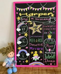 First birthday girl chalkboard Pre-order October 2017 A2