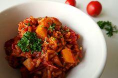 pamelopee: Rezept: Chili con Kürbis mit Tomatenreis