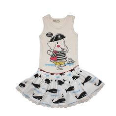 Misha Lulu Spring 2013.  Tunic/Tank style dress, whale print skirt, featuring Fannie the Pirate!  If you want to wear it as a tunic its true to size.  If you'd like it to last longer as a dress, I'd go a size up if you are in between sizes.  All Misha Lulu is printed and made in the U.S.A.