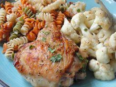 One skillet chicken and cauliflower.