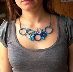 Turquoise, Teal, Blue, Grey Bib Crochet Necklace - Best Seller