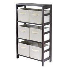 Winsome Capri 3-Tier Shelf with 6 Foldable Beige Baskets @ bedbathandbeyond