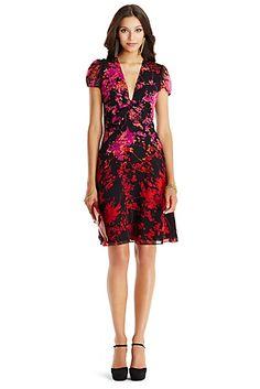 DVF Adrienne Short Twist Front Chiffon Dress In Floral Daze Placement Red