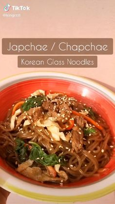 Do you like Korean food? Watch this Easy Korean Food Noodles Japchae Or Chapchae Recipe Food TikTok by and start making this easy recipe of Japchae or Korean Glass Noodles Ramen Recipes, Vegetarian Recipes, Dinner Recipes, Cooking Recipes, Easy Korean Recipes, Asian Recipes, Chapchae Recipe, Japchae Recipe Korean, Korean Glass Noodles
