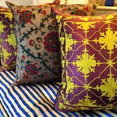 Uzbek Embroidery Suzani Pillows, Brown and Yellow