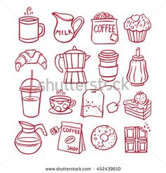 set of coffee and desserts icons. hand-drawn illustration