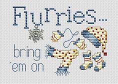 Flurries Post Stitches cross stitch chart with charm Sue Hillis Designs - $5.40