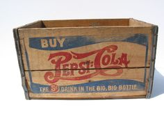 old Vintage Antique Double Dash Pepsi Cola Coke Wooden Crate Box  Sign NO PAYPAL