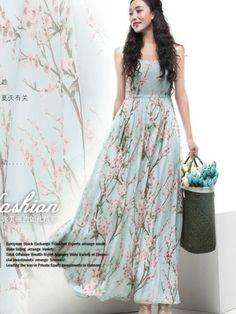Floral A-line Maxi Dress Blue Green Pink Print Full Pleated Skirt Bohemian Wedding Bridesmaid Holiday Prom Party Evening Event Ball Gown on Etsy, $169.00